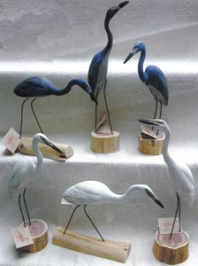 Richard Morgan handcarved birds - Herons and Egrets